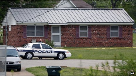 A police car outside a house in the West Hills Subdivision in Corinth, Mississippi on 18 April 2013
