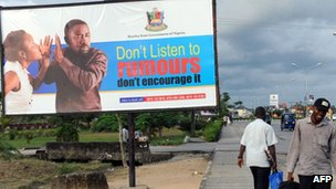 A billboard campaigning against rumour mongering in Yenagoa in Nigeria's southern Bayelsa state, 10 April 2013