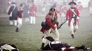 People re-enacting the battle of Lexington Green