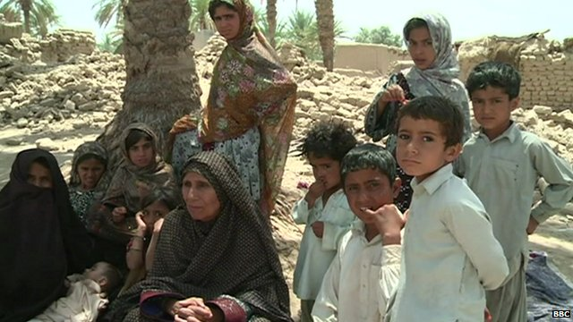 Family made homeless by Pakistan earthquake