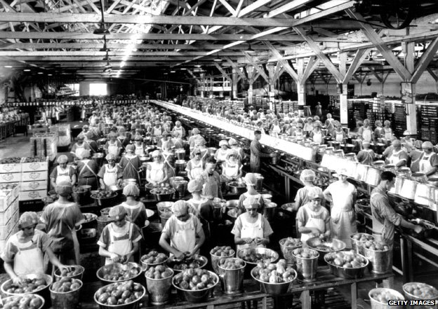 Tomato factory in the US, 1930