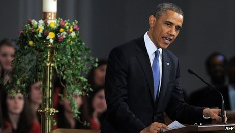 """US President Barack Obama speaks during """"Healing Our City: An Interfaith Service"""" dedicated to those who were gravely wounded or killed in the Boston Marathon bombing, at the Cathedral of the Holy Cross in Boston, Massachusetts, 18 April 2013"""