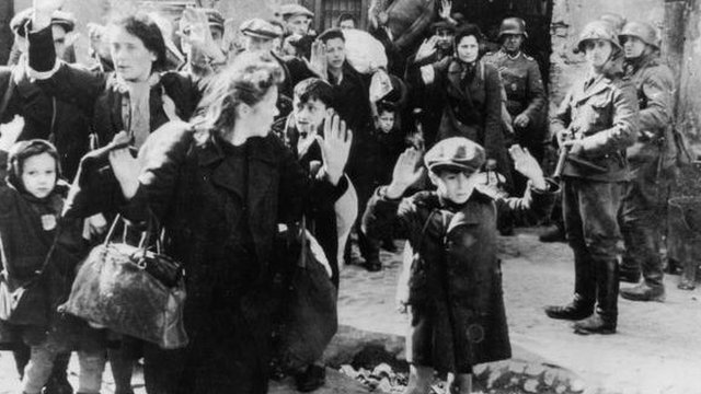 Jews being rounded up in the Warsaw Ghetto after the uprising