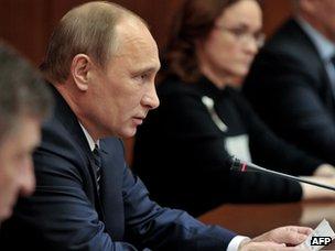 President Putin speaking to officials in Kalmykia, 16 Apr 13