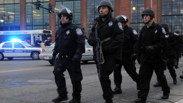 Police on School and Walnut Street on April 19, 2013 in Watertown, Massachusetts