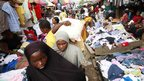 Second-hand clothing stalls at  Katangua market, Lagos, Nigeria - Friday 12 April 2013