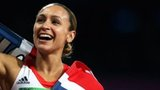 Jessica Ennis draped in a Union Jack flag