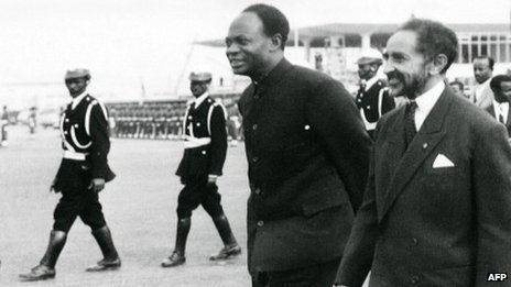 file photo dated 25 May 1963 shows the Ethiopian Emperor Haile Selassie (r) and Ghana's founder and first President Kwame Nkrumah (c) during the formation of the Organization of African Unity in Addis Ababa.