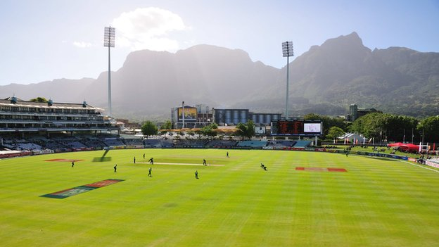 A cricket match at Cape Town's international arena