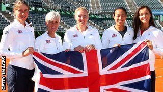 Johanna Konta, Judy Murray, captain of Great Britain, Elena Baltacha, Anne Keothavong and Laura Robson