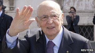 Italian President Giorgio Napolitano. Photo: April 2013