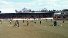 Players warming up at Underhill Stadium
