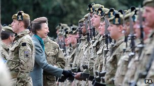Princess Anne with soldiers