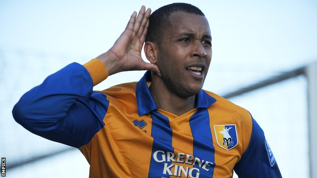 Matt Green celebrates scoring for Mansfield