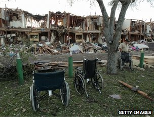 The rubble of a block of flats in West, Texas, 18 April