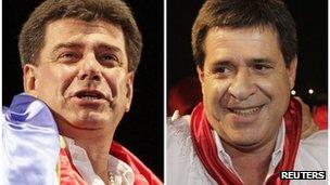 Paraguay presidential candidates Efrain Alegre (L) and Horacio Cartes