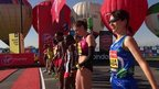 Elite women get ready to start the 2013 London marathon