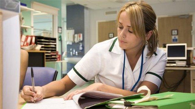 Nurse doing paperwork
