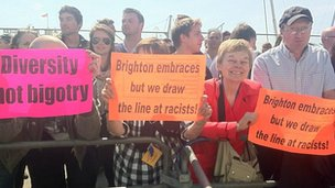 Counter-demonstrators in Brighton