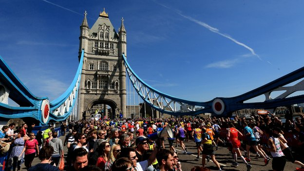 London Marathon runners at Tower Bridge