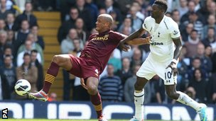 Vincent Kompany (left) and Emmanuel Adebayor
