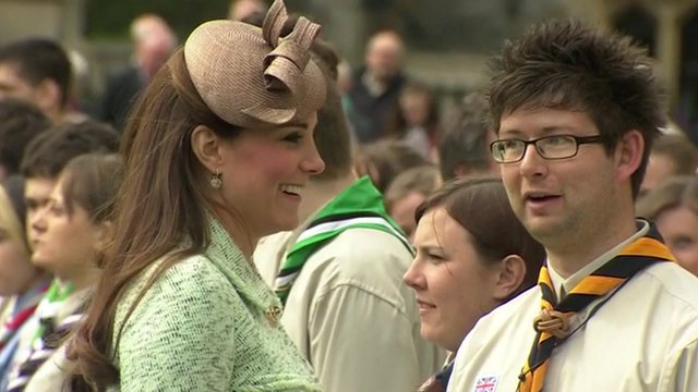 The Duchess of Cambridge reviews Queen's Scout Parade
