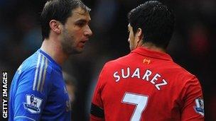 Chelsea's Branislav Ivanovic and Liverpool's Luis Suarez