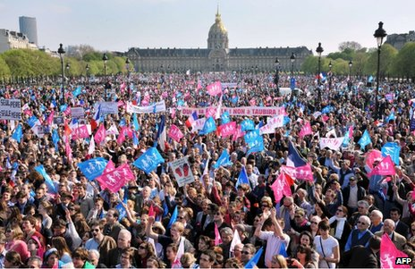 Demonstrators against gay marriage in Paris, 21 April