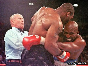 Tyson-Holyfield fight ends after the famous 'biting incident, June 1997