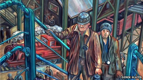 Coal workers painting by Derek Slater