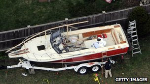 Boat, in which Dzhokhar Tsarnaev had been hiding
