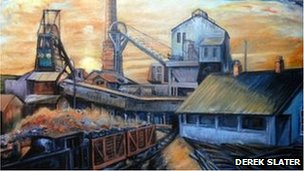 Coal mining painting by Derek Slater