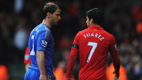 Ivanovic and Suarez walk off the pitch