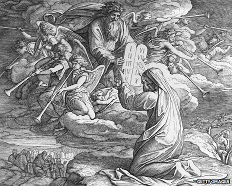Engraving - Moses Receives The Ten Commandments, by Julius Schnorr von Carolsfeld (1794 - 1872)
