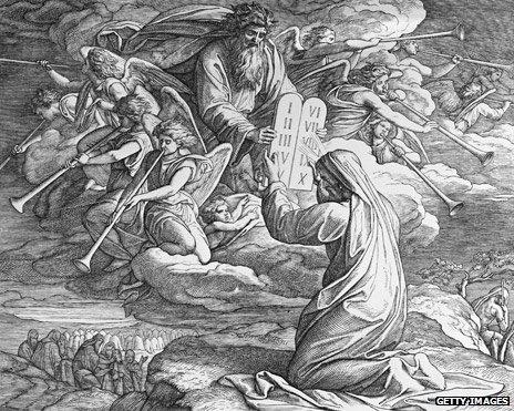 Engraving - Moses Receives The Ten Commandments, by Julius Schnorr von Carolsfeld (1794 - 1872)