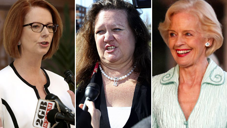 Composite image featuring, from left: Julia Gillard, Gina Rinehart and Quentin Bryce