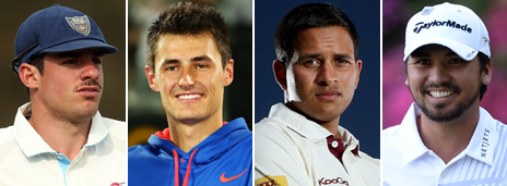 Composite image featuring, from left: Moises Henriques, Bernard Tomic, Usman Khawaja and Jason Day