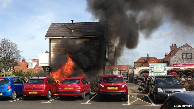 Sheringham signal box on fire