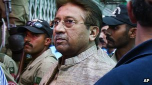 Pakistan's former president and military ruler Pervez Musharraf arrives at an anti-terrorism court in Islamabad, Pakistan on Saturday, April 20, 2013