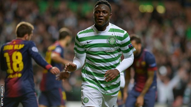 Celtic midfielder Victor Wanyama celebrates his goal against Barcelona