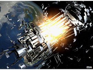 Space collision artist's impression