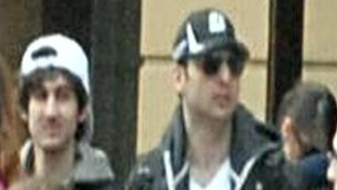 Dzhokhar Tsarnaev and Tamerlan Tsarnaev as taken from surveillance