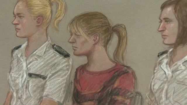 An artist's drawing of Melanie Smith in court