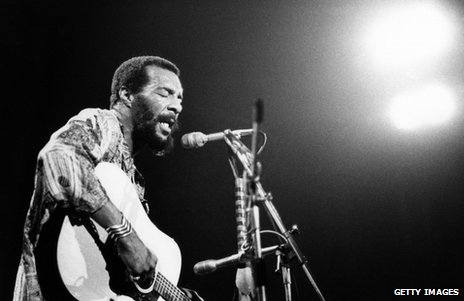 Richie Havens on stage at Woodstock