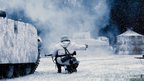 WWII re-enactment of a battle in the snow