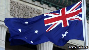 Australian flag billowing in the wind