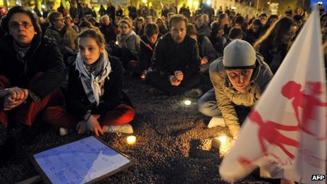 Opponents of gay marriage in France hold a vigil in Nantes on the eve of a vote in parliament to legalise it