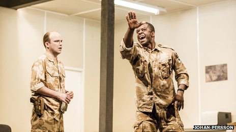 Rory Kinnear – Iago (left), Adrian Lester - Othello (right)