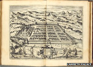 A map of the city of Cusco, in Theodor de Bry's America. (Frankfurt, 1590)