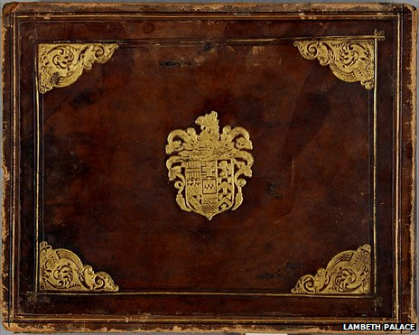 The cover of a book of prints on the theme of the Eighty Years' War, with the arms of Sir Francis Walsingham.